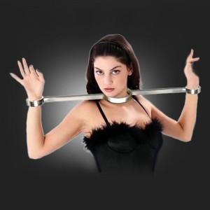 grilletes de presentación de BDSM y collar de esposas de acero inoxidable set de lujo