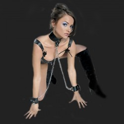 bdsm collar submission dual chain and handcuffs