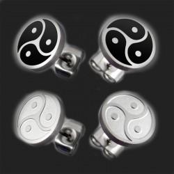 """bijoux Boucles d'oreilles en acier inoxydable """"BDSM Triskele"""" en argent ou noir"""