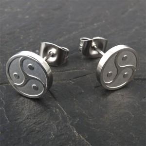 """Pendientes de la joyería de acero inoxidable Pendientes """"BDSM Triskele"""" en plata o negro"""