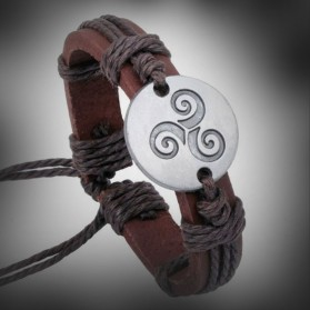 Wolf Triskele hemp bracelets and leather