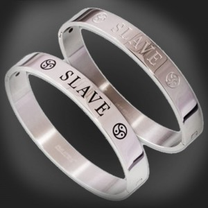 bdsm stainless steel bracelet jewelry - SLAVE with BDSM Triskel.
