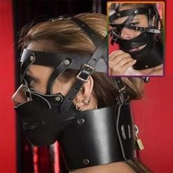 bdsm bondage Tête noire Harnais X Zipper Museau bouche avec un cadenas
