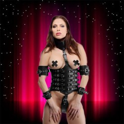 bdsm submission camisole in leather