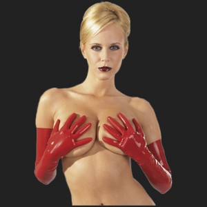 Los guantes de látex de color rojo