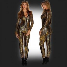catsuit sexy brillante serpiente de imitación