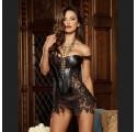 faux leather lace dress