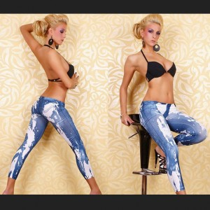 Fashion Legging Pants Jeans Look Blau