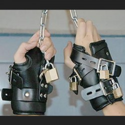 bdsm leather suspension cuffs