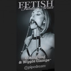 bdsm gag with nipple clamps.