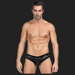 Culotte sexy en dentelle noire pour hommes