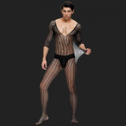 Black Lace Bodystocking For Men