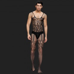 Floral Motif Mesh Bodystockings For Men