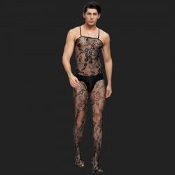 Schrittloser, blütenbesetzter Netz-Bodystocking für Männer