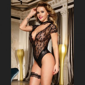 Black lace teddy with floral patterns