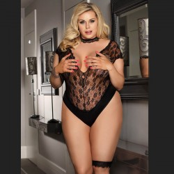 Black lace teddy with floral patterns Plus Size