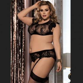 Black lace set halter bra plus size