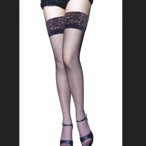 Black Thigh High Flower Lace Stocking