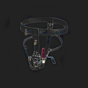 Men bdsm bondage chastity belt with anal plug vibrator