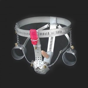 ceinture de chasteté pour homme en cuir menottes argent , gode anal, Vibromasseur anal intégré pour plus de plaisir