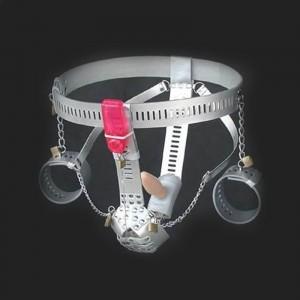 cinturón de castidad para hombre en cuero de plata esposas, enchufe anal, vibrador anal integrado para más diversión