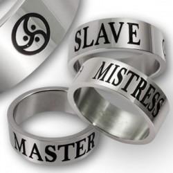Bague en acier inoxydable - Maitre - esclave- maîtresse BDSM Triskel